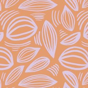 Abstract organic Scandinavian style shells leaf shapes nursery burnt orange lilac lavender