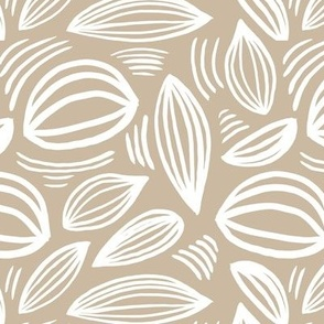 Abstract organic Scandinavian style shells leaf shapes nursery beige sand latte white