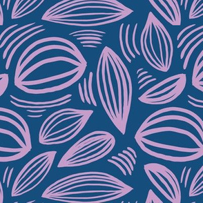 Abstract organic Scandinavian style shells leaf shapes nursery navy blue pink