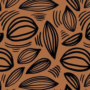 Abstract organic Scandinavian style shells leaf shapes nursery rust copper black