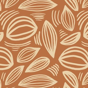 Abstract organic Scandinavian style shells leaf shapes nursery rust copper butter yellow ginger