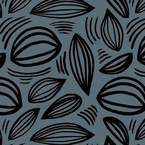 Abstract organic Scandinavian style shells leaf shapes nursery stone blue gray black