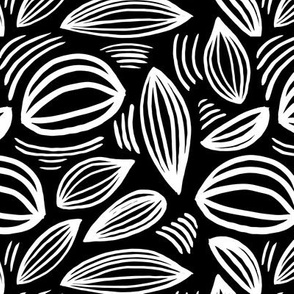Abstract organic Scandinavian style shells leaf shapes nursery monochrome winter black and white