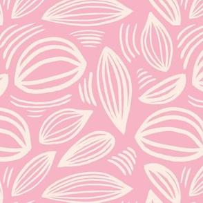 Abstract organic Scandinavian style shells leaf shapes nursery pink blush ivory cream
