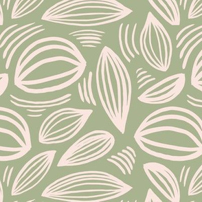Abstract organic Scandinavian style shells leaf shapes nursery soft nude cream on olive green