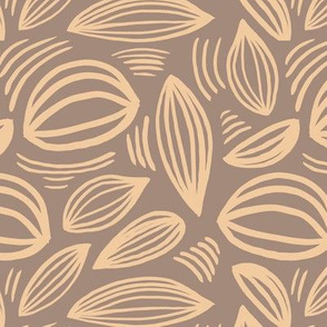 Abstract organic Scandinavian style shells leaf shapes nursery butter yellow latte brown
