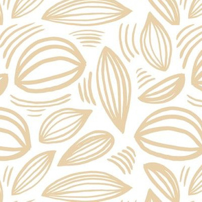Abstract organic Scandinavian style shells leaf shapes nursery butter yellow beige on white