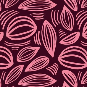 Abstract organic Scandinavian style shells leaf shapes nursery burgundy pink
