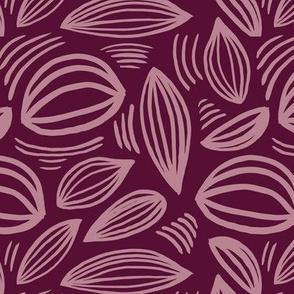 Abstract organic Scandinavian style shells leaf shapes nursery merlot purple mauve