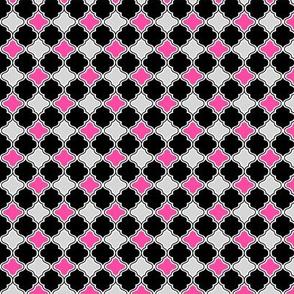 XSM custom quatrefoil hot pink, grey and black