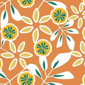 Tropical Floral on Burnt Orange
