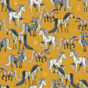 Happy Horse Herd - medium on mustard linen