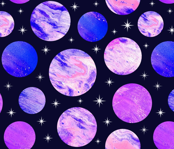 Pink , magenta, blue and violet painted planets and stars. Outer space