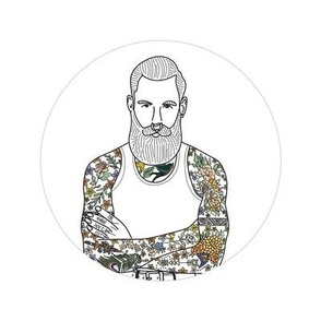 Hipster guy embroidery pattern