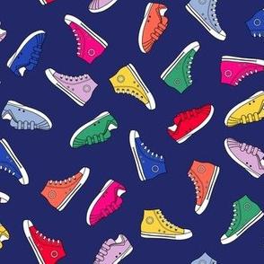 Rainbow shoes on navy