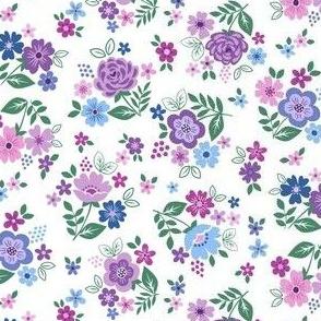 Ditsy folk flowers blue