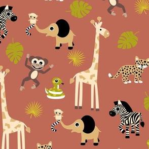 Adorable little african safari animals  elephant zebra giraffe snake and lemur kids design brick red