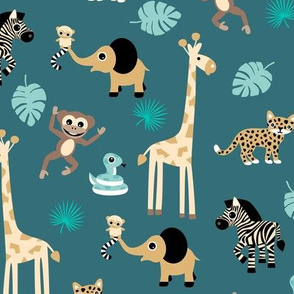 Adorable little African safari animals  elephant zebra giraffe snake and lemur kids design teal stone blue brown cinnamon boys