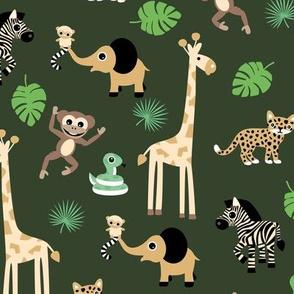 Adorable little African safari animals  elephant zebra giraffe snake and lemur kids design camo green brown earthy