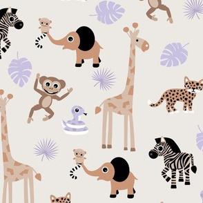 Adorable little African safari animals  elephant zebra giraffe snake and lemur kids design beige brown lilac purple neutral