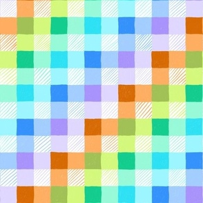 Pencil scribble gingham in blue, orange and green