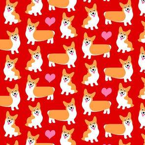 Corgis With Hearts Red