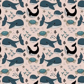 Sweet deep sea creatures whale fish coral and turtles ocean kids theme