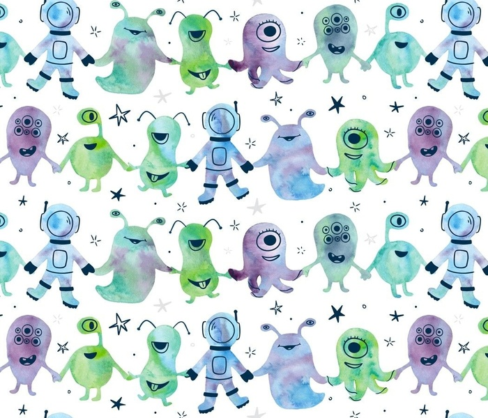 Galaxy Pals Watercolor Aliens and Astronauts in Space