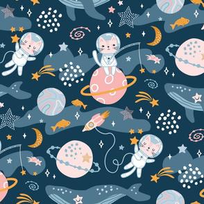space cats ocean galaxy