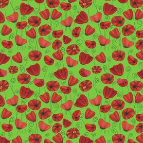 Poppy bloom pea green