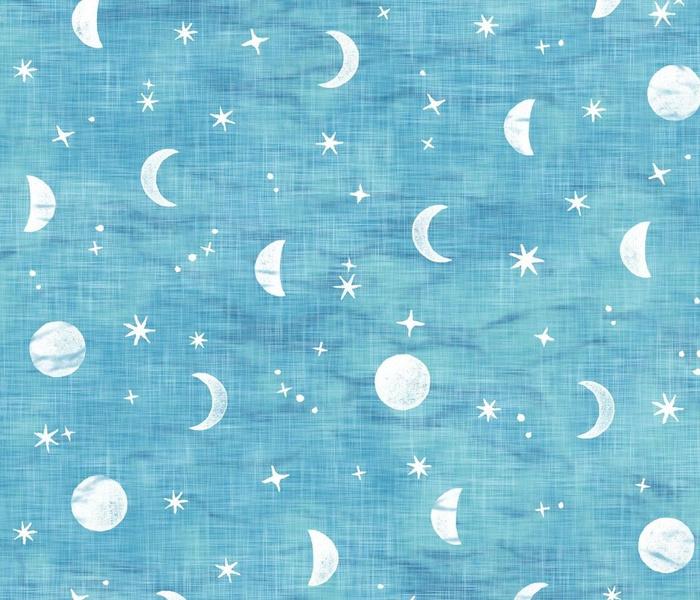 Shibori Moons and Stars on Turquoise (xl scale) | Night sky fabric, block printed moon on linen pattern, crescent moon, arashi shibori linen in azure blue and turquoise.