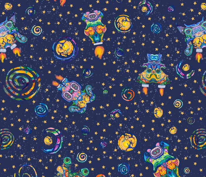 Aliens, Planets, and Stars Pattern
