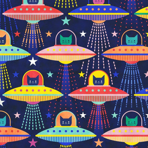 Intergalactic Cats Large- Vintage 80s Arcade- Space Cat- UFO- Multicolored with Navy Blue Background- Bright Kid's Wallpaper- Novelty Children Home Decor