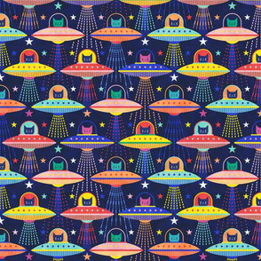 Intergalactic Cats Small- Vintage 80s Arcade- Space Cat- UFO- Multicolored with Navy Blue Background- Small Scale- Kid's Face Mask- Novelty Children