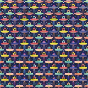 Intergalactic Cats Mini- Vintage 80s Arcade- Space Cat- UFO- Multicolored with Navy Blue Background- Small Scale- Kid's Face Mask- Novelty Children