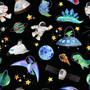 astronaut and dinosaur