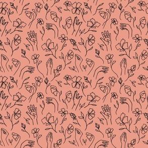 Flower Hands Coral Black
