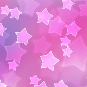 Large Starry Bokeh Pattern - Magenta Fantasy Color Palette