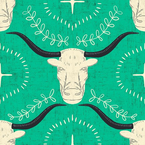 large - long horns - cerulean and buttermilk