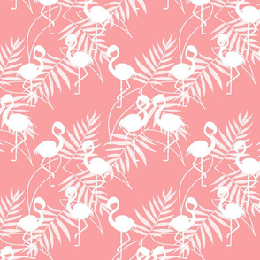 Fantastic Flamingos - white on coral pink, medium