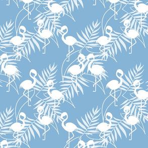 Fantastic Flamingos - white on steel blue, medium
