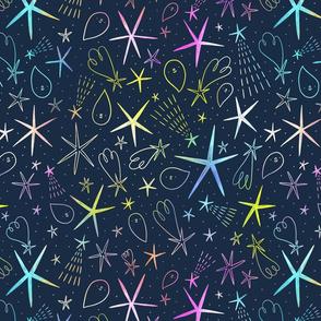 Neon space adventures pattern, medium scale