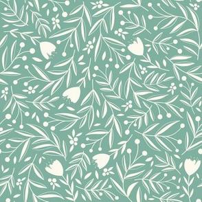 Blooming Earth // Dancing Wildflowers, Leaves, and Berries // Green Color by Angelica Venegas