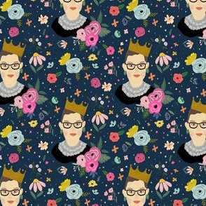 RBG Floral Print  DARK BLUE Back