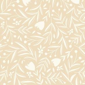 Blooming Earth // Dancing Wildflowers, Leaves, and Berries // Vanilla Color by Angelica Venegas