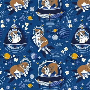 Small scale // Intergalactic doggie dreams // classic blue background white and bronze English Bulldogs goldenrod yellow denim and pastel blue planets and space ships