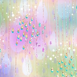 Tears of Rainbow, golden pattern, rain, watercolor clouds, watercolor in, rainbow design, watercolor, raindrops, glitter, multicolor, clouds, rainbow, rainbow raindrops, multicolor clouds.