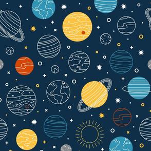 Not to Scale Line Art Solar System - Navy