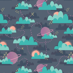 Intergalactic Treasure Hunt!  Purple and orange planets, teal clouds, space, fun, kids, nursery.