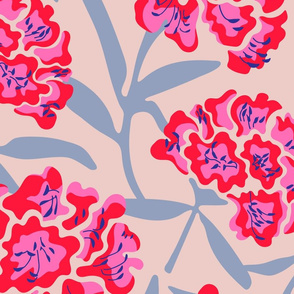 Rhododendron Floral Botanical in Fuchsia Red Blue - LARGE Scale - UnBlink Studio by Jackie Tahara